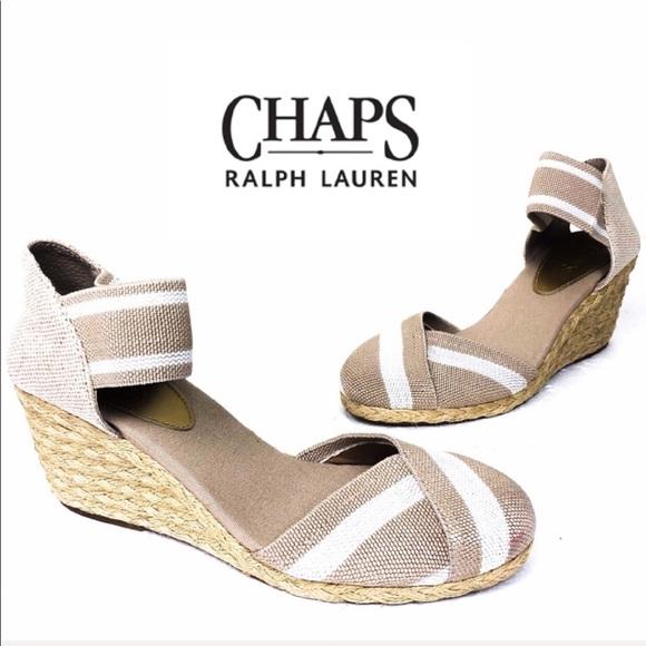 8fd4b51bd73 Chaps Shoes - CHAPS Tan Cream Chelsi Espadrille Wedge Sandal 9